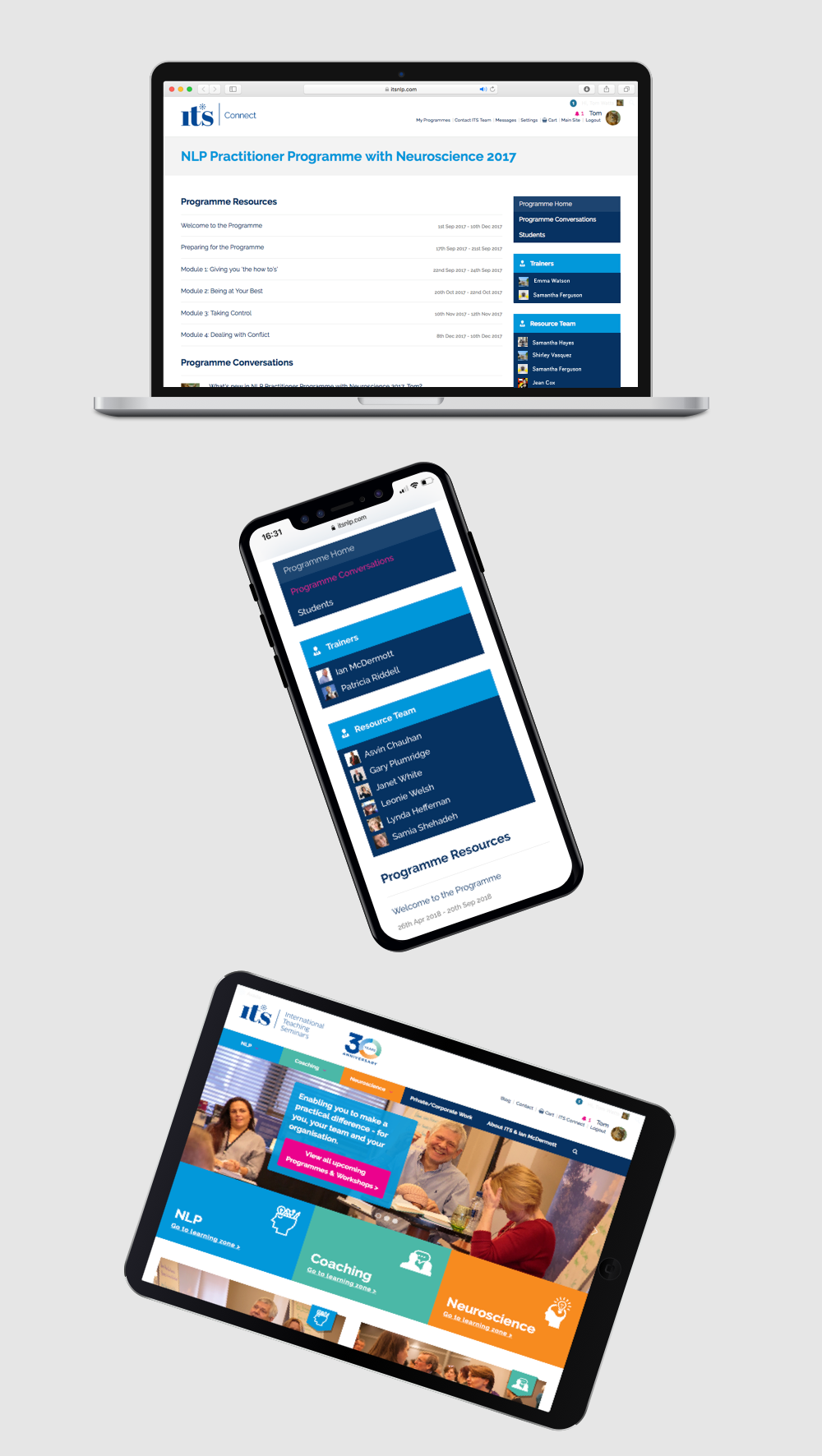 Screen shots of the ITS Connect community, on desktop, tablet and mobile