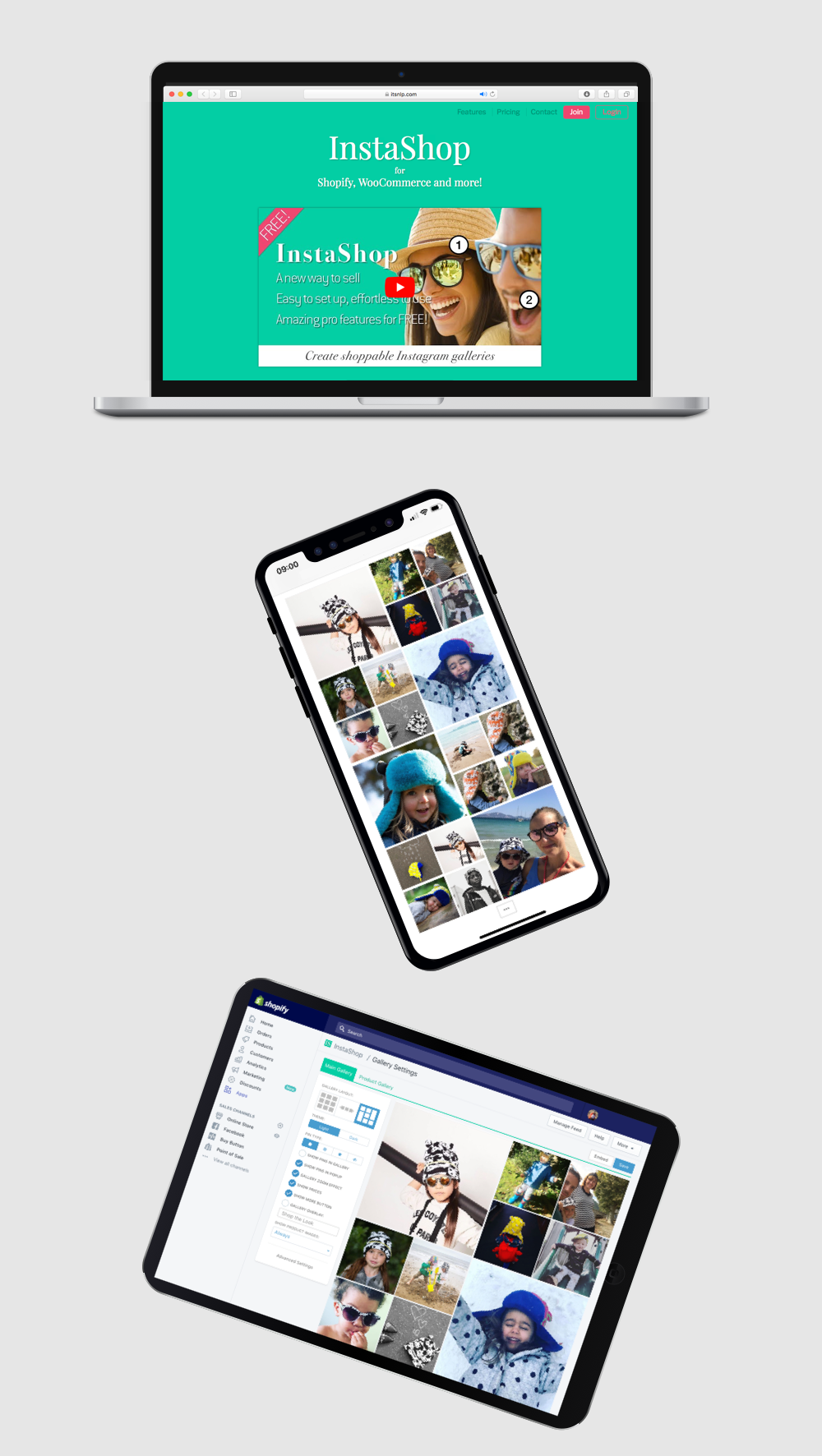 The Instashop app displayed on desktop, tablet and mobile
