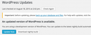 Upgrading WordPress: upgrade alert