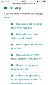 We see a list of the FAQs for InstaShop customer support service, powered by OSTicket. This is part of InstaShop's knowledge base.