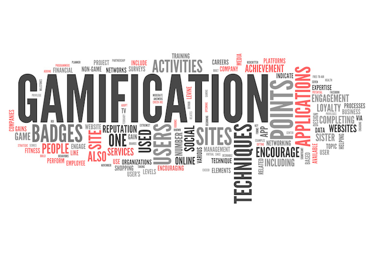 A word cloud, with gamification at the centre, surrounded by words related to gamification